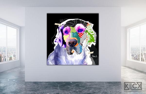 Golden Retriever Colorful Collage Art by Michel Keck