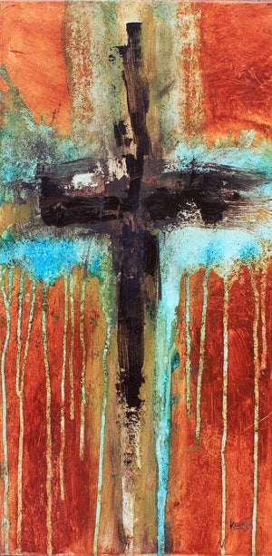 Load image into Gallery viewer, CROSS ART PRINTS. Abstract Cross Art Print.  Religious & Spiritual Cross Art.