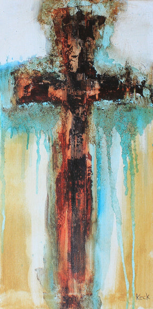 #061618 Abstract Cross Art Print