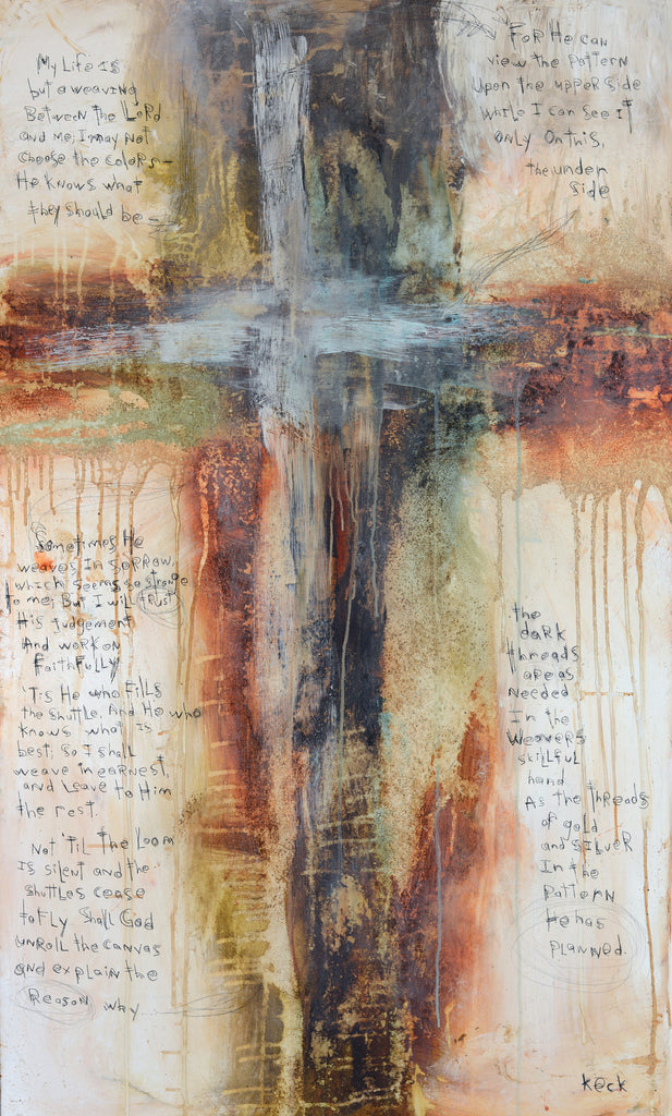 CROSS ART PRINTS. Abstract Cross Art Print with Scripture by Michel Keck