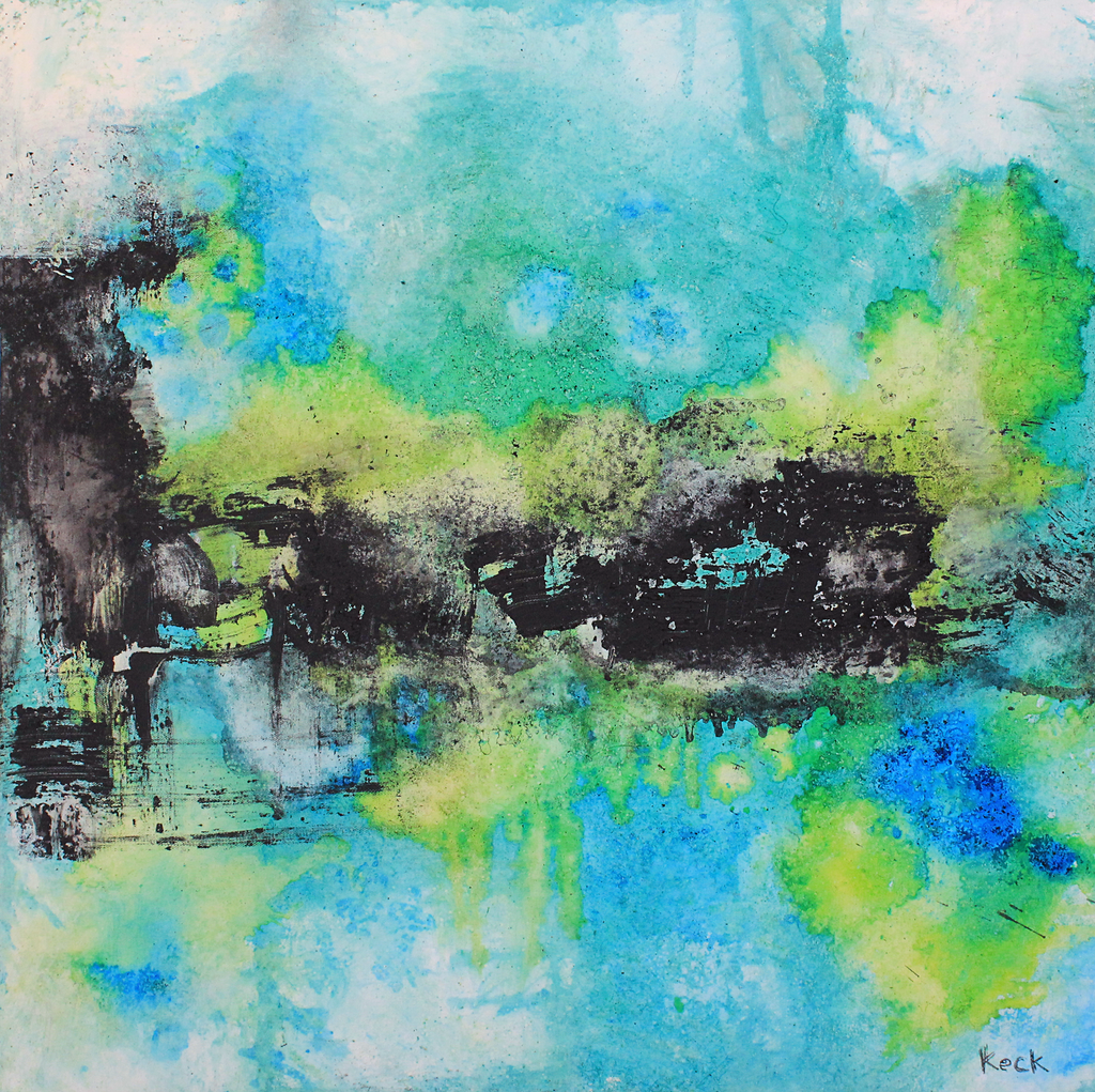 blue and green abstract art prints