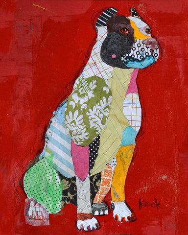 Original Dog Art Collage: Pit Bull