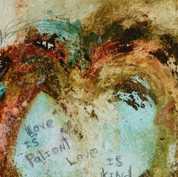 SCRIPTURE ART. Abstract Heart Art Print with 1 CORINTHIANS 13 LOVE IS PATIENT # 081602