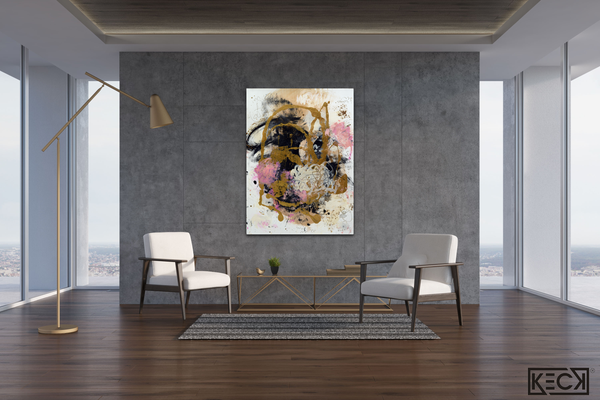 PINK COLORFUL ABSTRACT ART BY MICHEL KECK