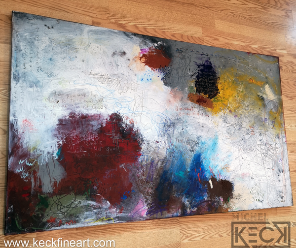Abstract paintings with bible verse. Scripture painting by Michel Keck Romans 12:2