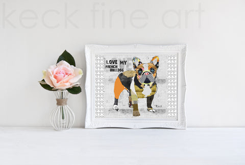 Dog Art of French Bulldog on Paper Print