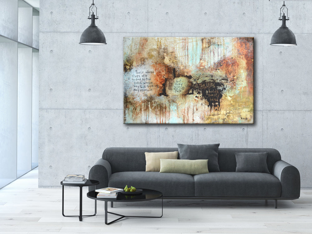SCRIPTURE Abstract Art Canvas Print of Psalm 37: 23-24