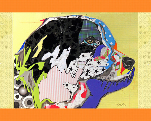 Dog Art of Border Collie on Paper Print
