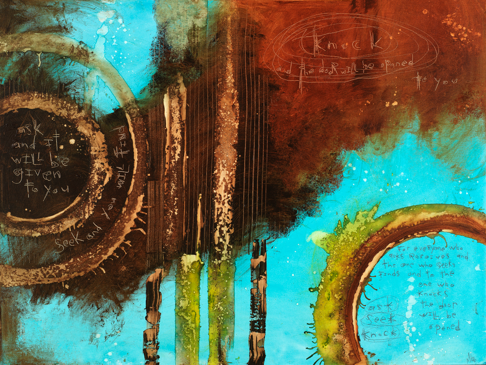 Load image into Gallery viewer, Matthew 7:7-8 Abstract art print.  Scripture art by Michel Keck
