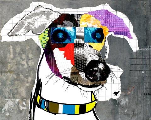 Original Dog Art Collage: Greyhound I (Stoney)