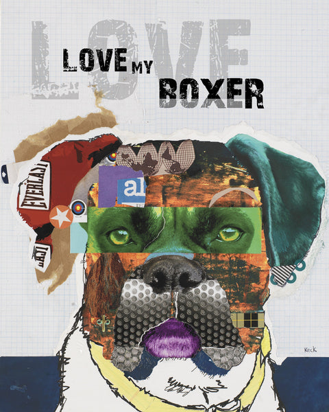 Dog Art of Boxer on Paper Print