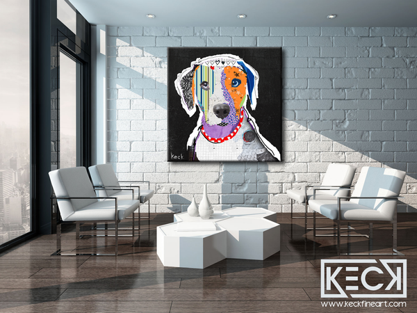 Large dog art prints of the Catahoula Leopard breed. Catahoula dog art prints on canvas or paper.