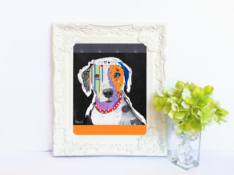 Dog Art of Catahoula Leopard Dog on Paper Print