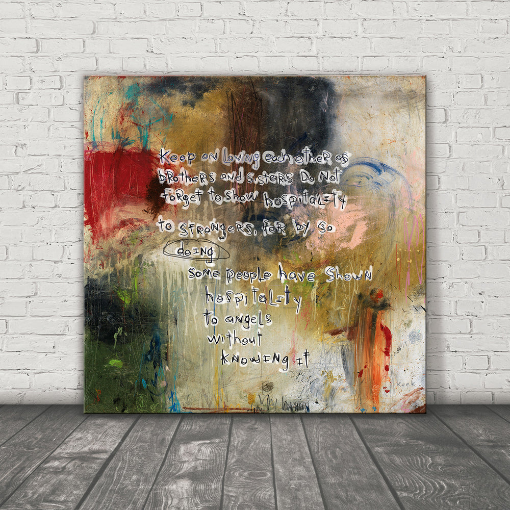 SCRIPTURE ART 111508 Hebrews 13:1-2 Canvas Print