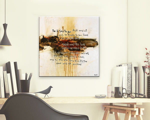 SCRIPTURE ART 111517 Luke 11:9-10 Canvas Print