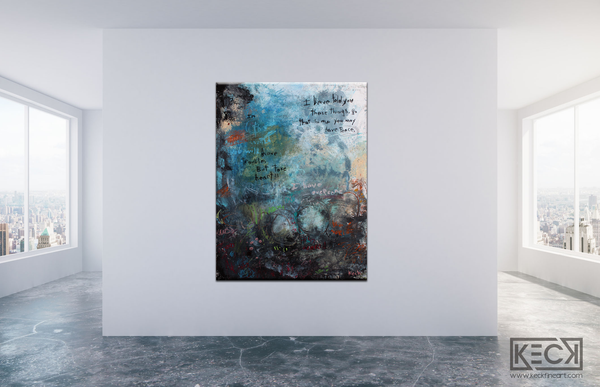 Large Abstract Art Prints With Scripture and Prayers.  Bible Verse Modern Art Prints by Michel Keck.
