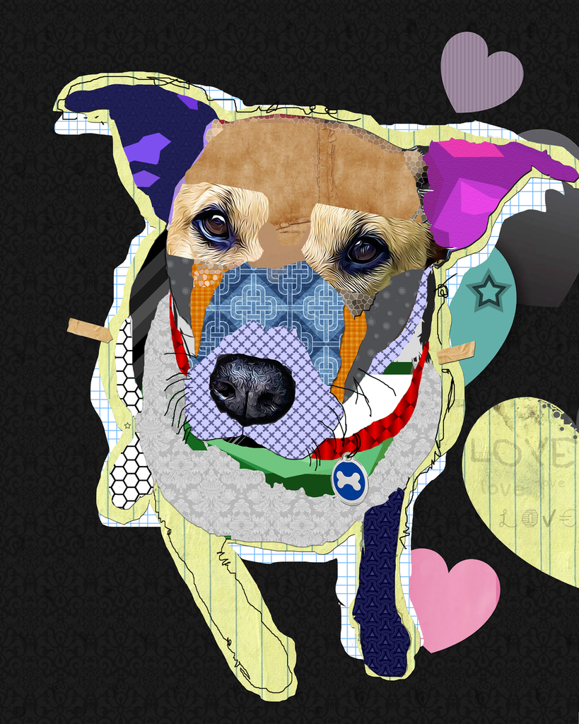 #111905<br> Pit / Lab Mix <br> Dog Collage<br> Canvas Art Print