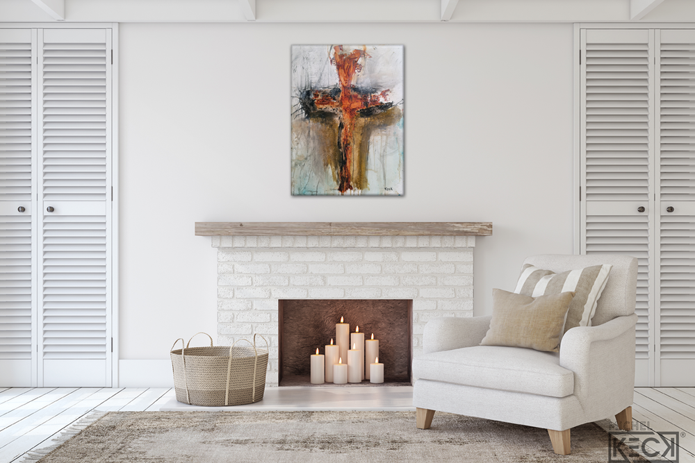 #112001 Abstract Cross Art Print