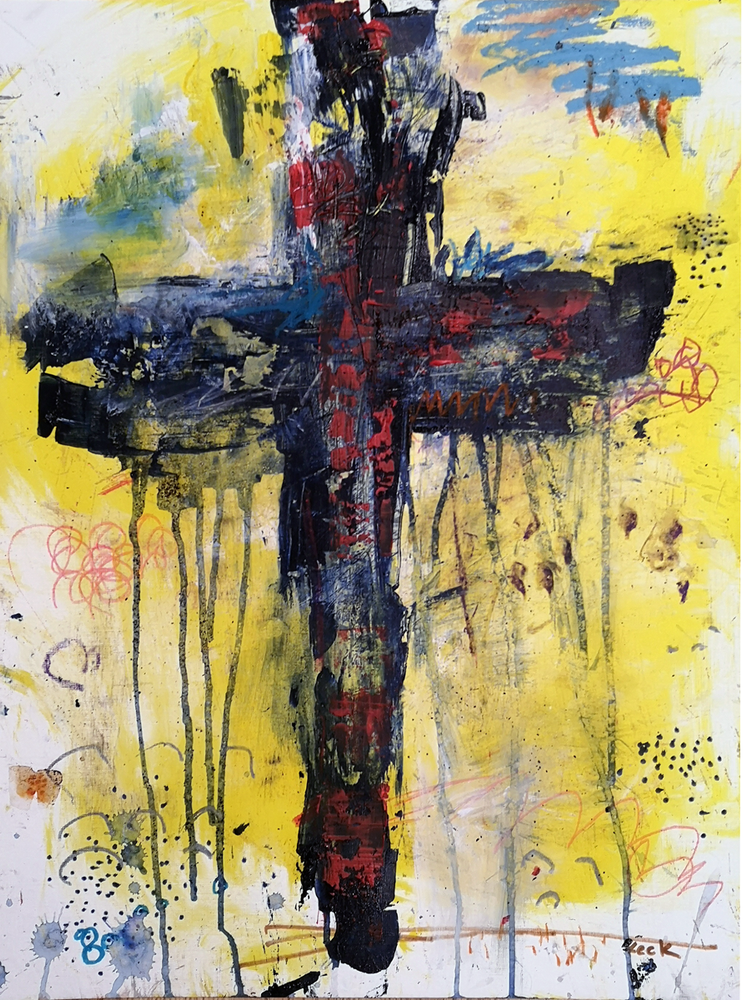 Original Cross Art Paintings - abstract Christian inspired art by Michel Keck