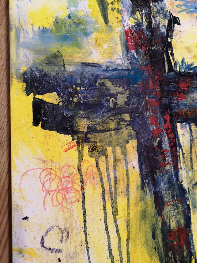 #112004 <br> Original Abstract Cross Art <br> Painting on Paper