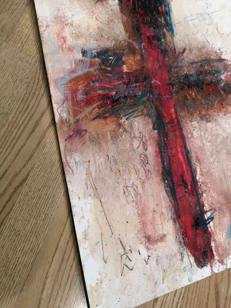 #112005 <br> Original Abstract Cross Art <br> Painting on Paper
