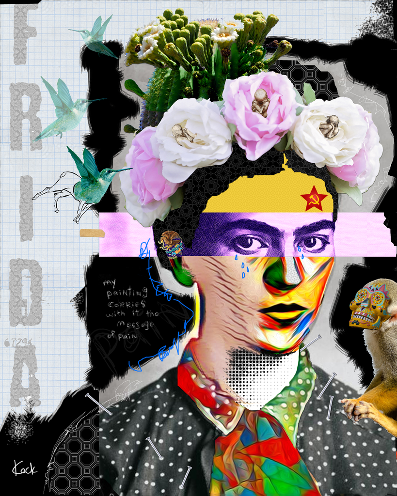 Frida Kahlo canvas art prints.  Abstract Frida Kahlo pop art collage by Michel Keck