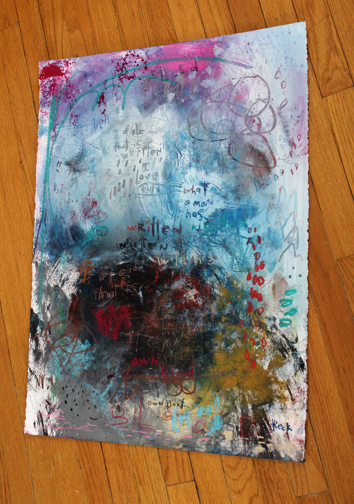 Original Abstract Painting <br>on Fine Art Paper<br>2019 Collection <br>Title:  his own blood <br> Michel Keck