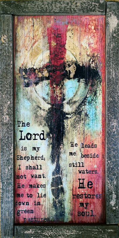 #602087 Psalm 23 <br>The Lord Is My Shepherd Cross <br> Wood Art Print