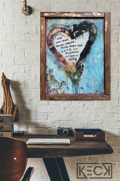#602089 I Corinthians 13:13<br> Faith, Hope & Love Heart <br> Wood Art Print
