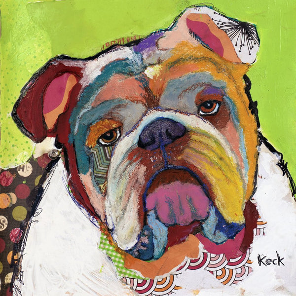 Original Dog Art Collage: American Bulldog