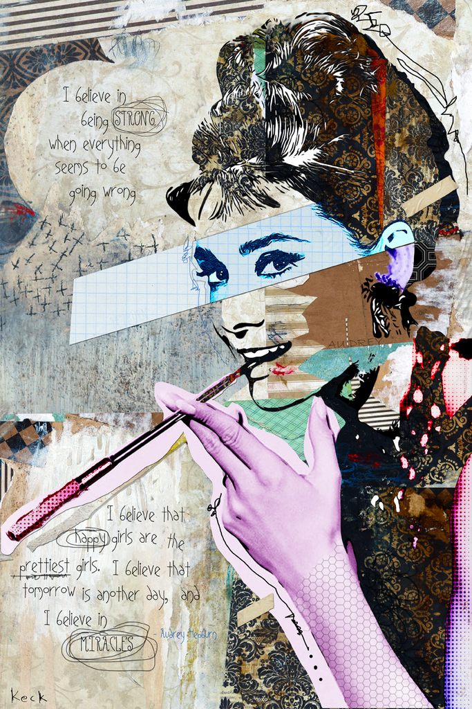 AUDREY HEPBURN ART PRINTS:  Mixed media Audrey Hepburn collage art print.