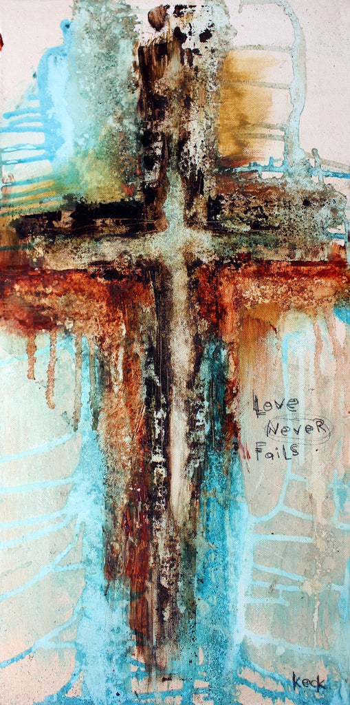 CROSS ART PRINTS. Abstract Cross Art Print with LOVE NEVER FAILS Bible Verse.