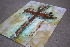 Original Abstract Cross Art Painting