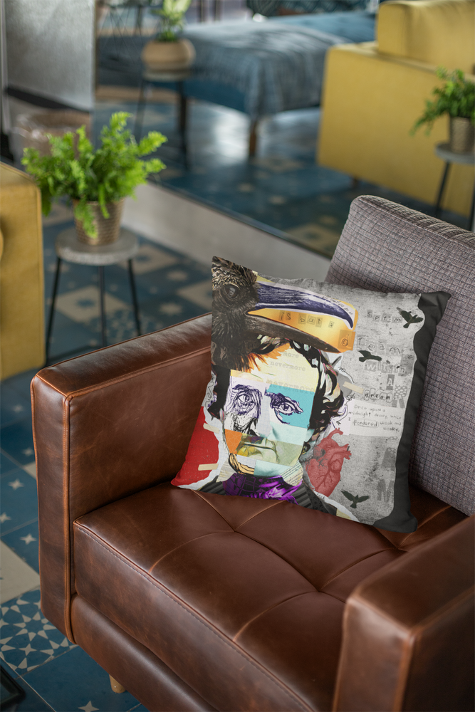 Load image into Gallery viewer, ART PILLOWS | Indoor & Outdoor Artist Designed Throw Pillow with EDGAR ALLAN POE