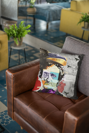 ART PILLOWS | Indoor & Outdoor Artist Designed Throw Pillow with EDGAR ALLAN POE