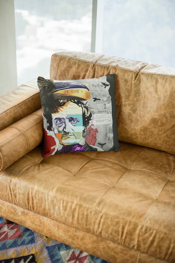 Load image into Gallery viewer, EDGAR ALLAN POE THROW PILLOWS | Indoor and Outdoor Art Pillows