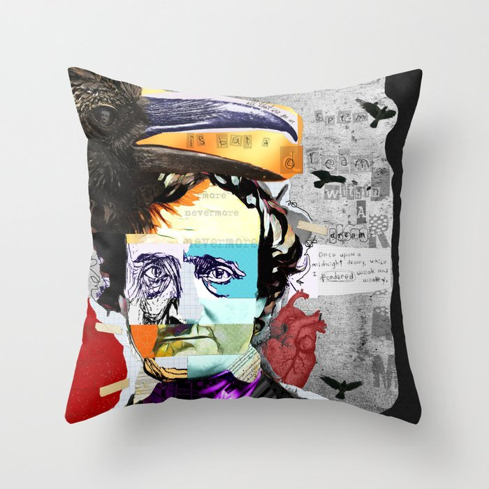 ART THROW PILLOWS | Edgar Allan Poe Artwork on Throw PIllows