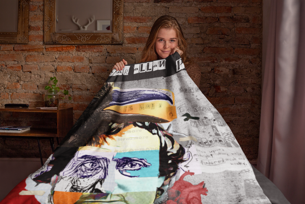 Load image into Gallery viewer, EDGAR ALL POE THROW BLANKET | Gifts for Edgar Allan Poe Lovers