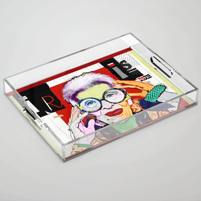 Iris Apfel Artist designed decorative acrylic serving tray