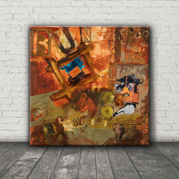 MIXED MEDIA ART Canvas Print of Run Bunny