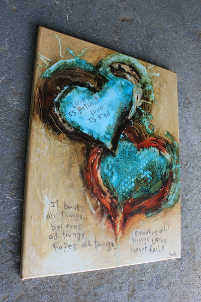 SCRIPTURE ART. Abstract Heart Art Print with 1 Corinthians 13 Verse. Love Never Fails Abstract Art Print.