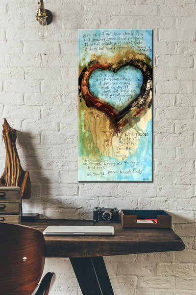 SCRIPTURE ART 061632 I Corinthians 13 Abstract Heart Art Print With Bible Verse Love Never Fails