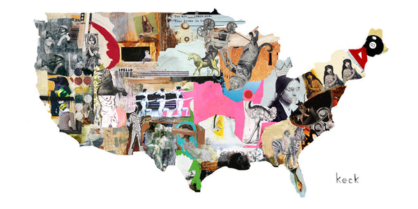 MIXED MEDIA ART Canvas Print of United States Map 1