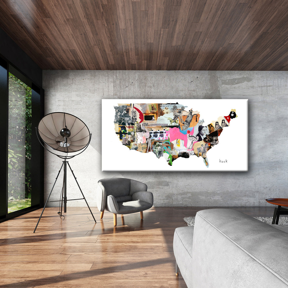 Load image into Gallery viewer, MIXED MEDIA ART Canvas Print of United States Map 1