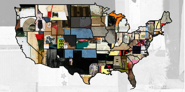 MIXED MEDIA ART Canvas Print of United States Map 3