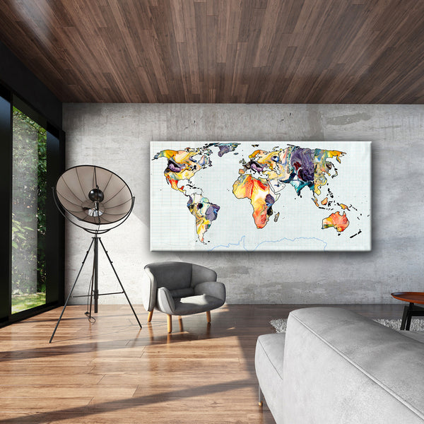 MIXED MEDIA ART Canvas Print of World Map 1