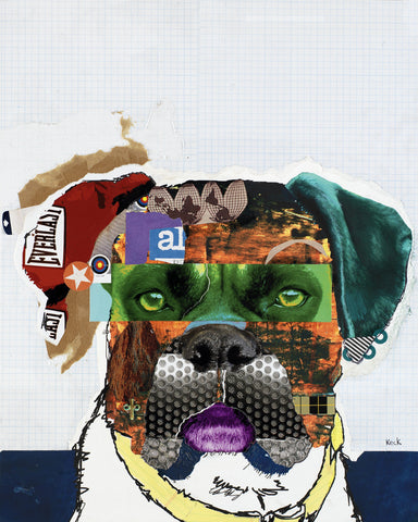 Original Dog Art Collage: Boxer