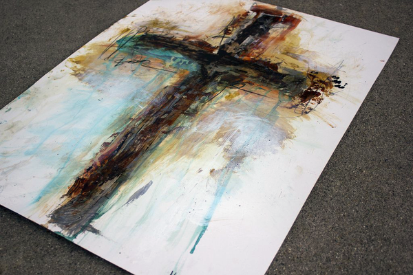 Beautiful original cross paintings in abstract styles for modern decor.