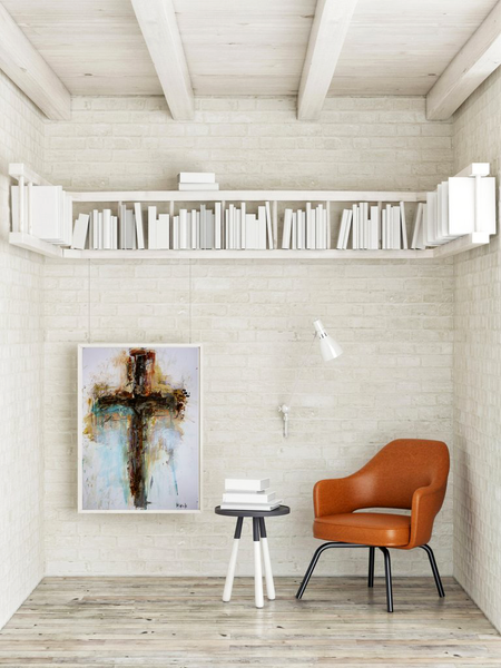 Modern Cross Abstract Art Paintings. CROSS ART Originals on paper and canvas.  Religious cross art for modern decor.