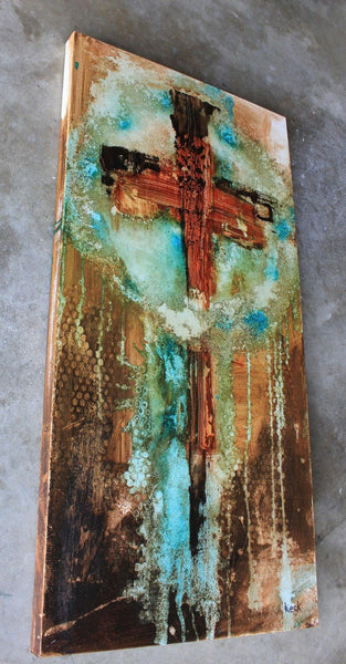 Original ABSTRACT CROSS ART PAINTING #061625